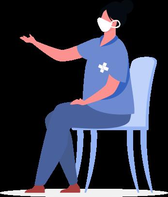 ilustração de uma enfermeira sentada de mascara comroupa da cor azul onde está estampada em sua blusa a logo do SUS(Sistema único de saúde).