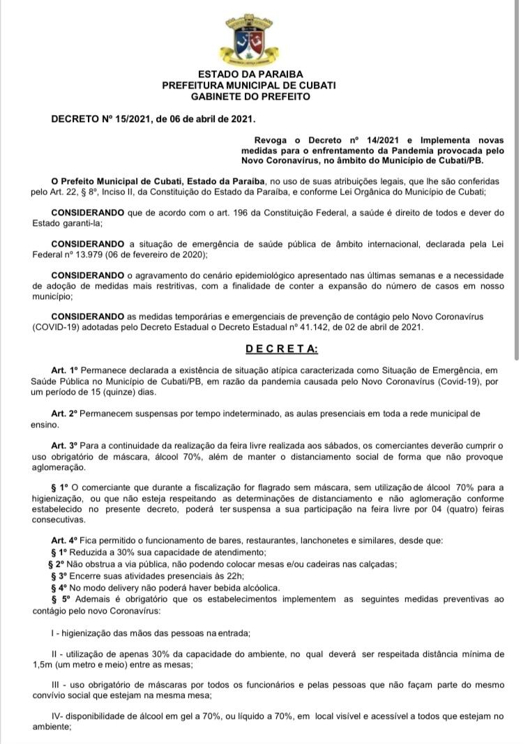 Prefeitura municipal de Cubati publica Decreto nº 15/2021