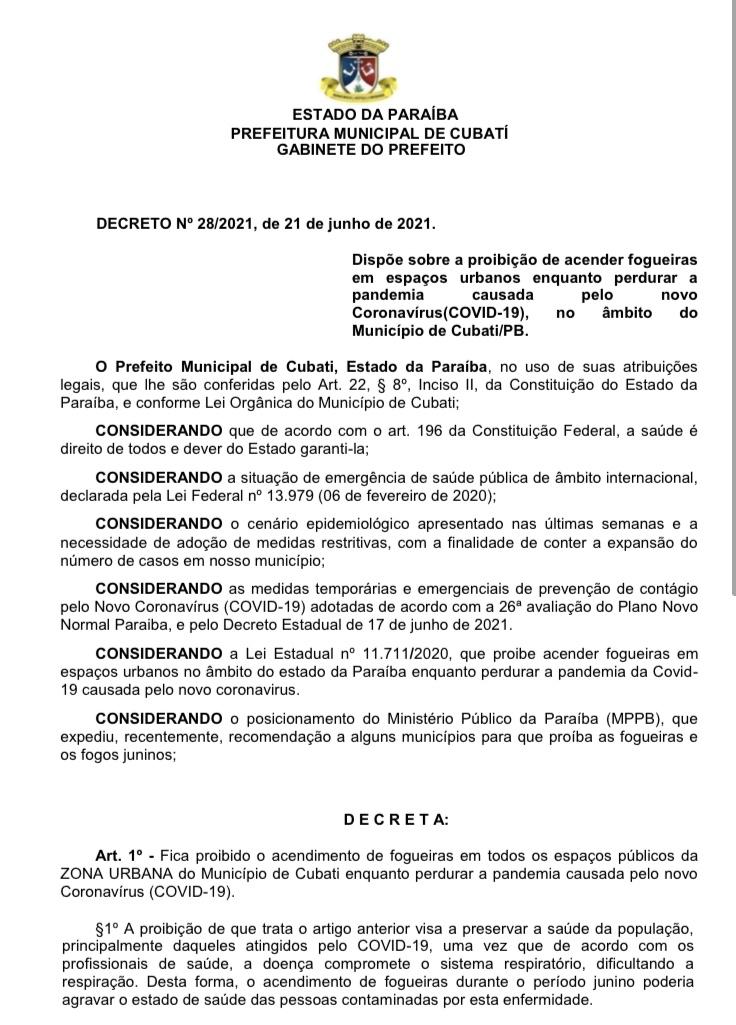 Prefeitura de Cubati publica decreto de nº 28/2021