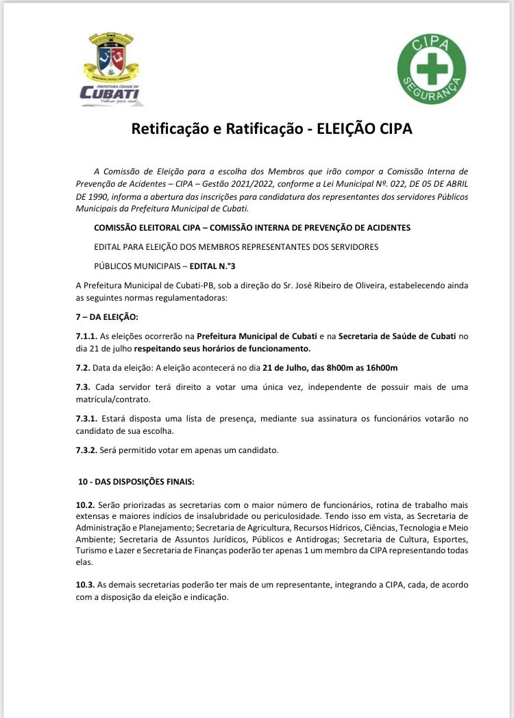 Informações sobre as Eleições CIPA 2021/2022
