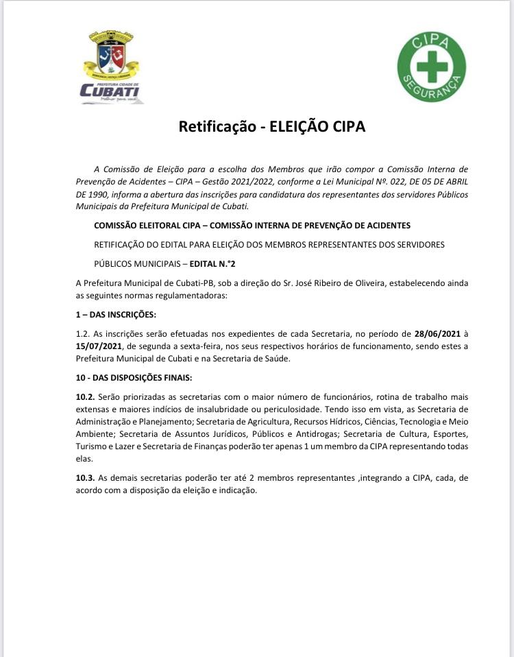 Prefeitura de Cubati disponibiliza edital retificado para a eleição da CIPA