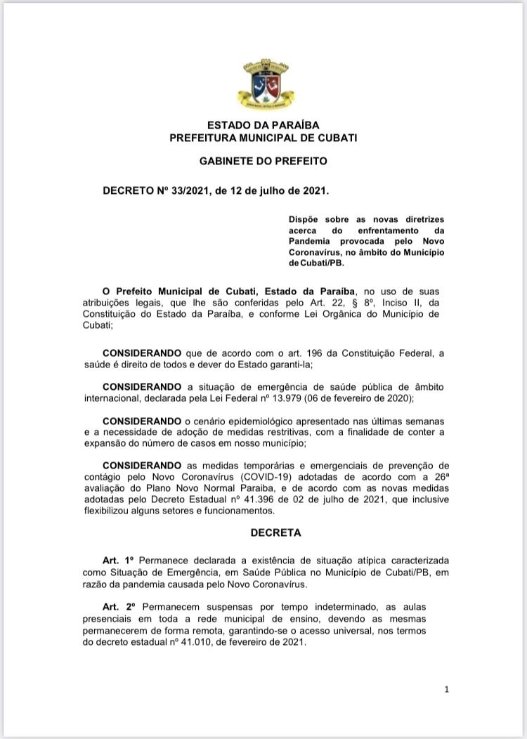 A Prefeitura de Cubati publica decreto de nº 33/2021.