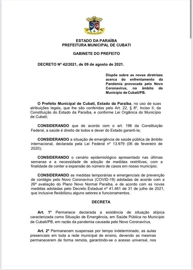 Prefeitura de Cubati publica decreto de nº 42/2021.