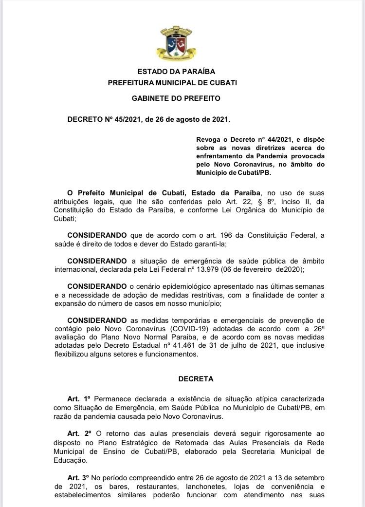 COVID-19: Prefeitura de Cubati publica decreto de nº 45/2021